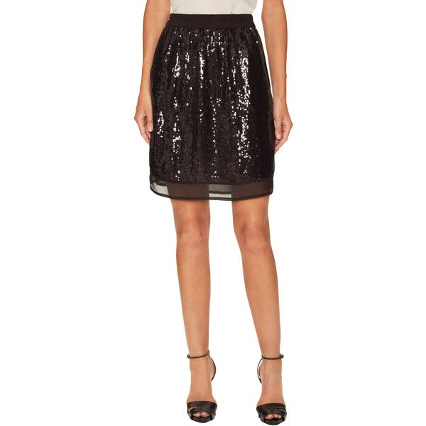 Falcon & Bloom Women's Sienna Sequin Mini Skirt - Black, Size M ($66) ❤ liked on Polyvore featuring skirts, mini skirts, black, sequin skirt, elastic waist mini skirt, panel skirt, short mini skirts and elastic waist skirt
