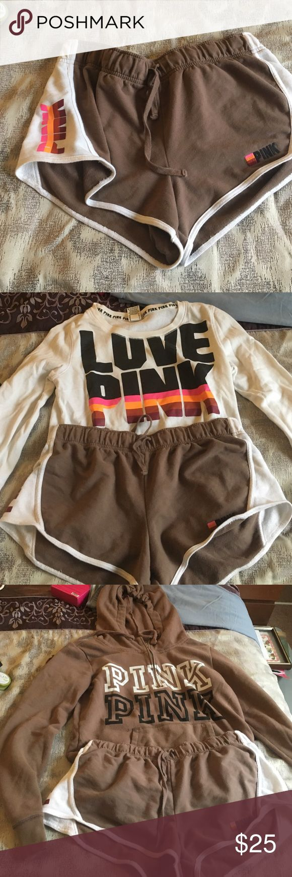 Brown Pink shorts<3 Size Large and shown with two other pieces available as I am typing this. You asked for Pink and her it is! Light Blueish outfit to come and green sweatshirt plus tanks to go with all the shorts<3 PINK Victoria's Secret Shorts