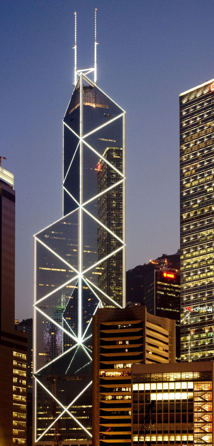 Bank of China Tower, Hong Kong by I.M. Pei Partnersand Sherman Kung Associates Architects :: 72 floors, height 367m For more, visit: http://www.hongkongbuzz.com/category/must-see/architecture/