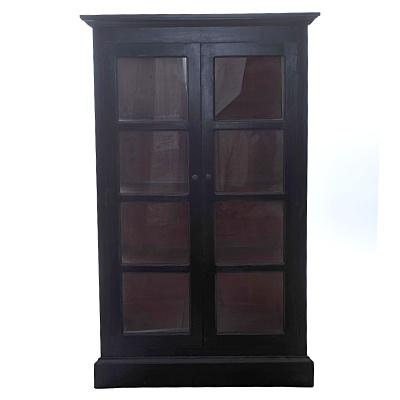 Lunenburg Large Glass Cabinet   Description Display cabinet with glass doors and glass sides. Has three non-removable shelves. Outside measurements include molding.  was $1259.99 now $629.99  SKU 114919 Black  18 inches wide x 44 inches long x 71 inches high   was $1259.99 now $629.99  SKU 114918 Cream  18 inches wide x 44 inches long x 71 inches high   was $1259.99 now $629.99  SKU 114917 Brick Red  18 inches wide x 44 inches long x 71 inches high