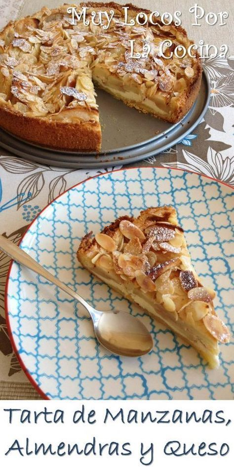 Tarta de Manzanas, Almendras Laminadas y Relleno de Queso: Una base crujiente con sabor a mantequilla, una capa de suave crema de queso, manzanas tiernas con canela y almendras tostadas crujientes. ¡Simplemente irresistible!