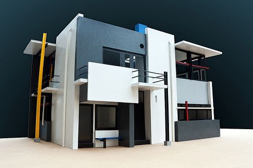 Model of Schroder House designed by Gerrit Rietveld,  a Dutch furniture designer and architect and one of the principal members of the  De Stijl Movement. Rietveld is famous for his Red and Blue Chair and for the Rietveld Schröder House, which is a UNESCO World Heritage Site.