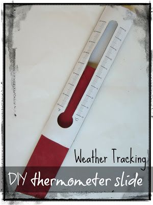 Relentlessly Fun, Deceptively Educational: Weather Tracking with a DIY Thermometer Slide *this was quick & easy to make and works great for my daughters math lessons on reading thermometers