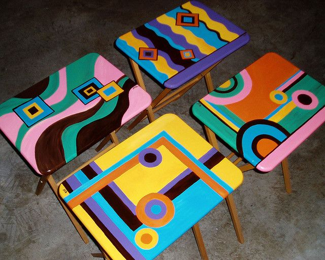 70s Style TV Trays painted in geometric shapes