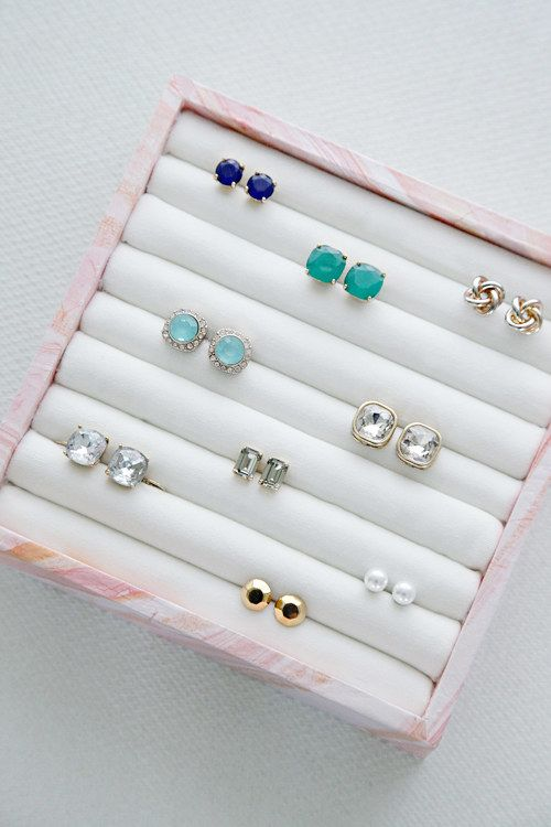 Make your own earring and ring storage box using a few supplies from the craft store. | 42 Clever Organizing Ideas To Make Your Life So Much Easier