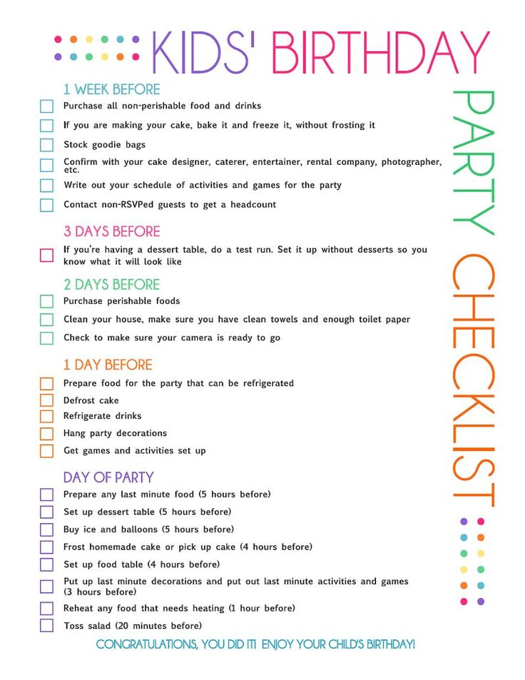 best kids birthday surprises ideas birthday printable kids party planning checklist