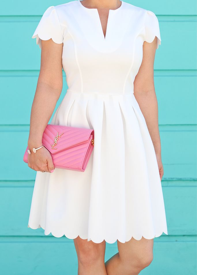 White scallop dress, YSL saint laurent WOC, spring outfit, wedding outfit idea