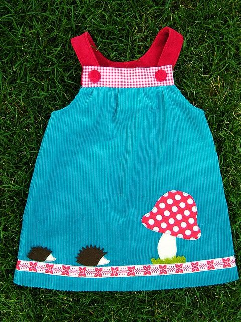 girl's appliqued dress - Simple dress design with darling appliques.: