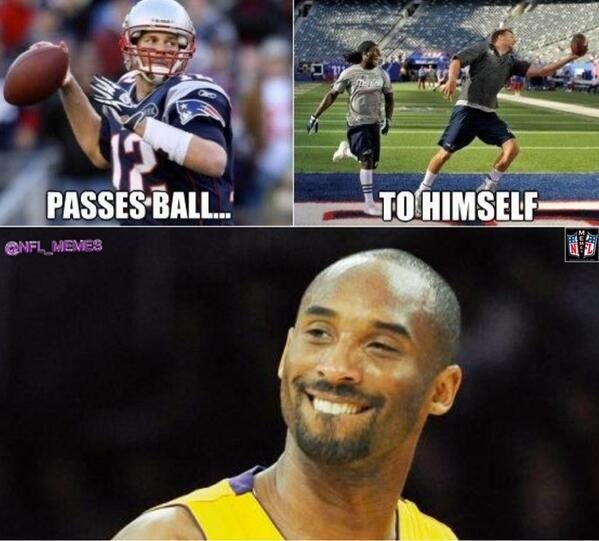 """NFL Memes on Twitter: """"Kobe Bryant is a big fan of Tom Brady! http ..."""