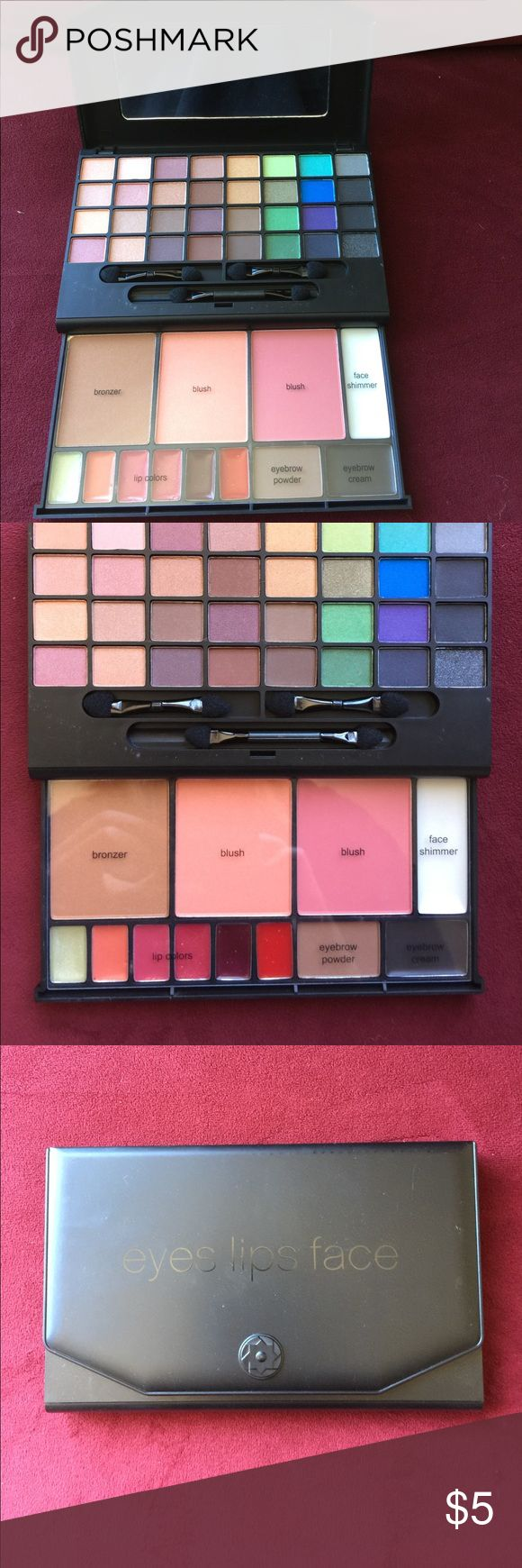 Makeup Clutch Elf Eyes, Lips and Face 47 Piece Makeup kit with mirror. Elf studio Makeup Eyeshadow
