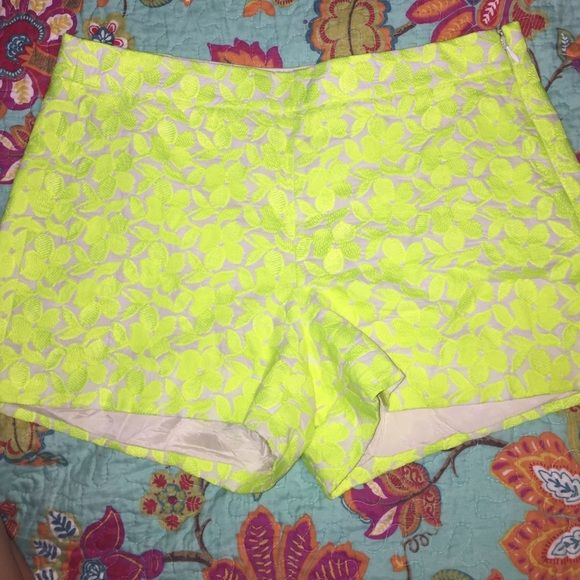 J. Crew neon yellow shorts J. Crew neon yellow flower print shorts. They are lined with a side zip. Size 6, worn once J. Crew Shorts