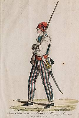 Sans culottes were men of the working class who supported the Revolution. Instead of wearing knee-breeches, or culottes, these men wore trousers.