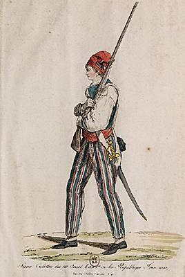 1792, Aug 10: Sans-culotte du 10 août de l'an I de la République française. Gravure ; fin du XVIIIe siècle. (Bibliothèque nationale de France, Paris.)