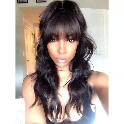 High ponytail full lace wigs with bangs Brazilian virgin body wave wig for women