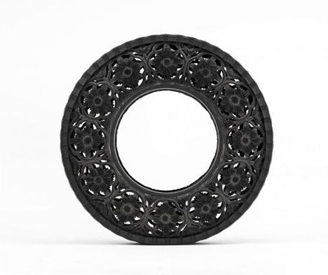 carved-tire-art-5  just when you think you have the corner on creativity. Someone carves a tire into lace.