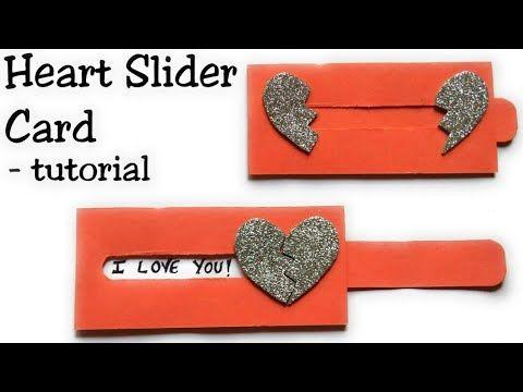 Heart Slider Card Tutorial Love Slider Card Tutorial Card Making Idea Youtube Card Tutorial Slider Cards Birthday Cards Diy