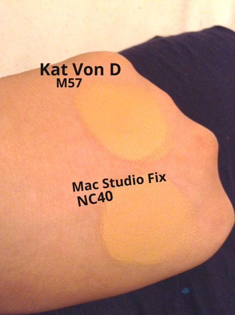 MAC NC40 matched to Kat Von D's Lock-It Foundation M57