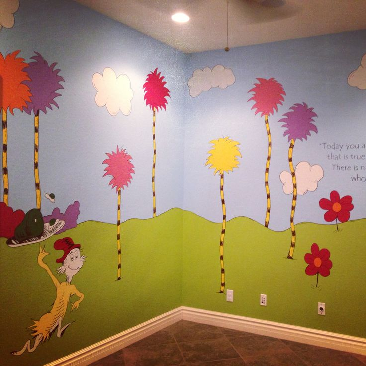 Dr seuss playroom any kid would love this room it 39 s the for Character mural