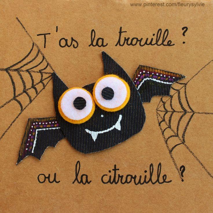 T'as la trouille ? Ou la citrouille ? Joyeux Halloween !! #jeans #recycle  http://pinterest.com/fleurysylvie/mes-creas-la-collec/