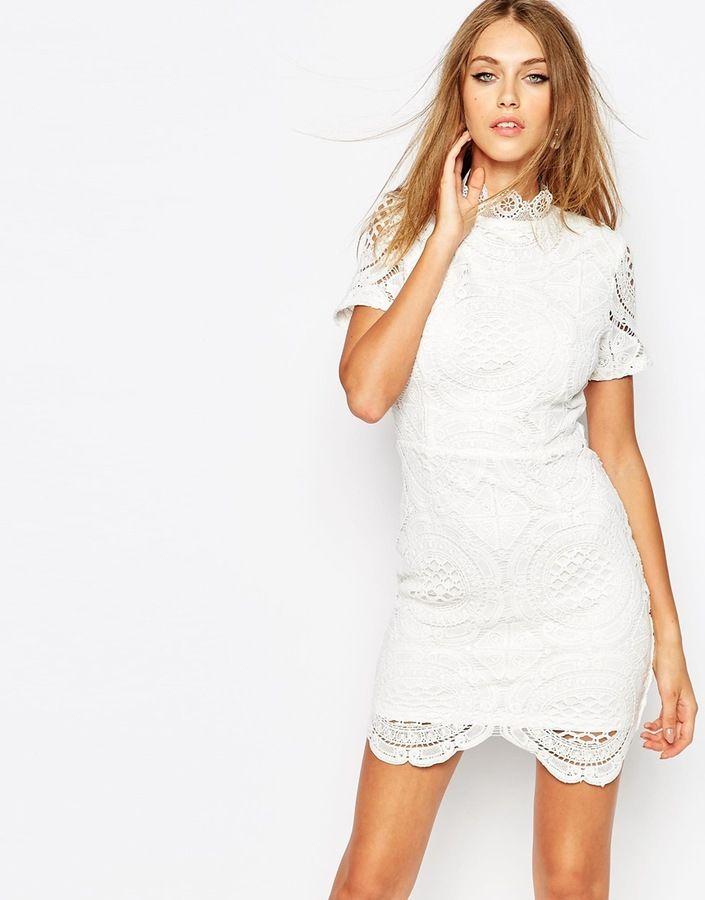 Missguided Premium White Scallop Lace Dress