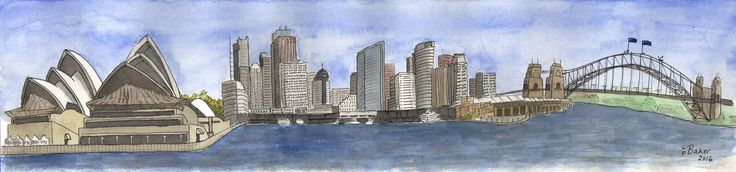 """""""Sydney Panorama"""", pen and watercolour on paper, 18x4"""". #sydney #australia #watercolor #watercolour #penandwash #sydneyharbour #sydneyoperahouse #sydneyharbourbridge"""