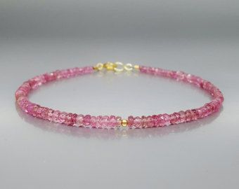 Check out Fine bracelet pink Tourmaline / Rubellite with 14K gold beads and clasp - gift idea on gemorydesign