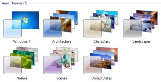 Windows 7 are o temă implicită pentru fiecare ţară.  Dar are, de asemenea, mai multe teme din alte ţări sunt stocate în fişiere ascunse.