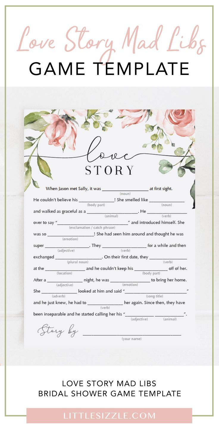 Funny Bridal Shower Mad Libs Love Story Printables Bridal Shower Games Funny Funny Bridal Shower Bridal Shower Activities
