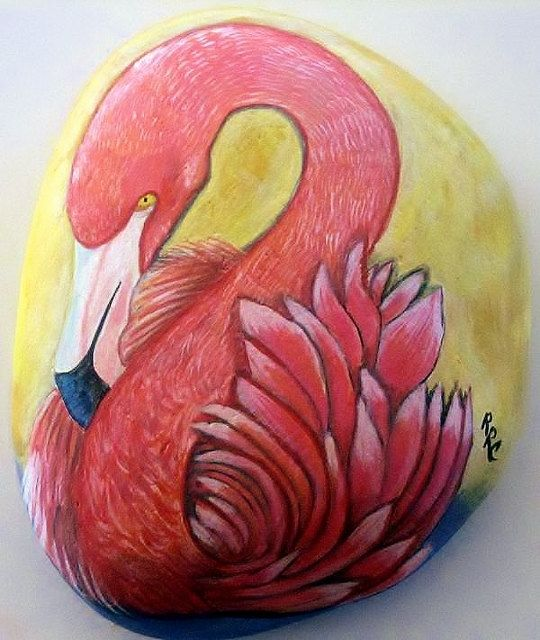 Flamingo - Hand Painted River Rock