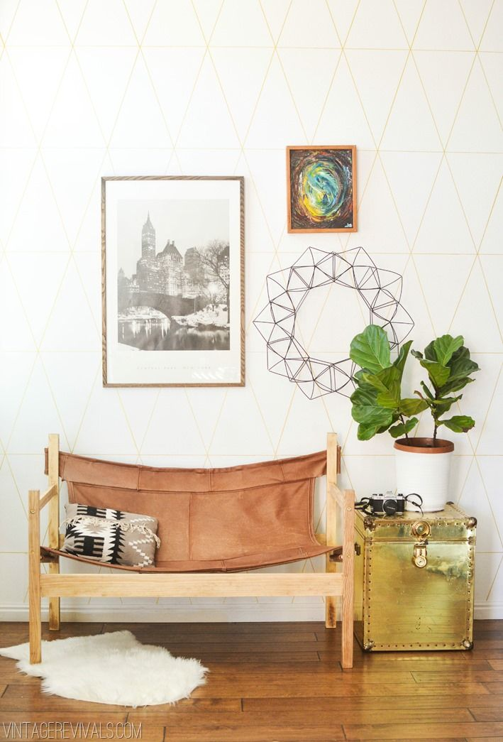 DIY Upcycled Leather Couch to Safari Sling Chair | Use lumber from the hardware store, and leather from a beat-up couch from the thriftstore... this DIY bench will look awesome as part of your home decor! | Vintage Revivals