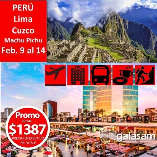 PERÚ Lima Cuzco y Machu Picchu SALIDA CONFIRMADA DESDE QUITO FEBRERO 09-14/2018 5 Noches  EL PROGRAMA INCLUYE: Boleto Aéreo UIO-LIM-CUZ-LIM-UIO VÍA LATAM Impuestos aéreos y tasas aeroportuarias netas Traslado Aeropuerto/hotel/Aeropuerto en Lima   Feb. 09-11: 02 Noches de alojamiento en Lima  HD Visita a la ciudad de Lima Colonial y Moderna Cena con show Folklórico en el restaurante Dama Juana con traslados Feb. 11-12: 01 Noche de alojamiento en Cuzco  Almuerzo de bienvenida en restaurante…