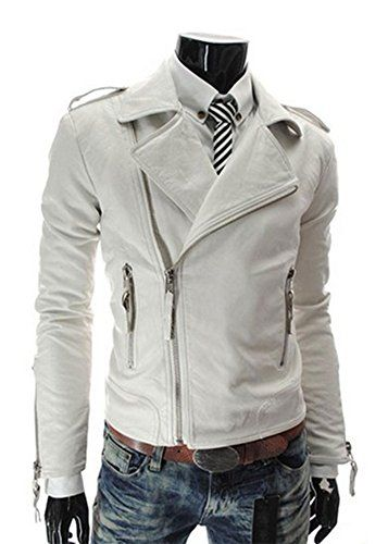 King Ma Men's Pu Leather Stand Collar Zip-up Moto Jacket (Chinese M, white)