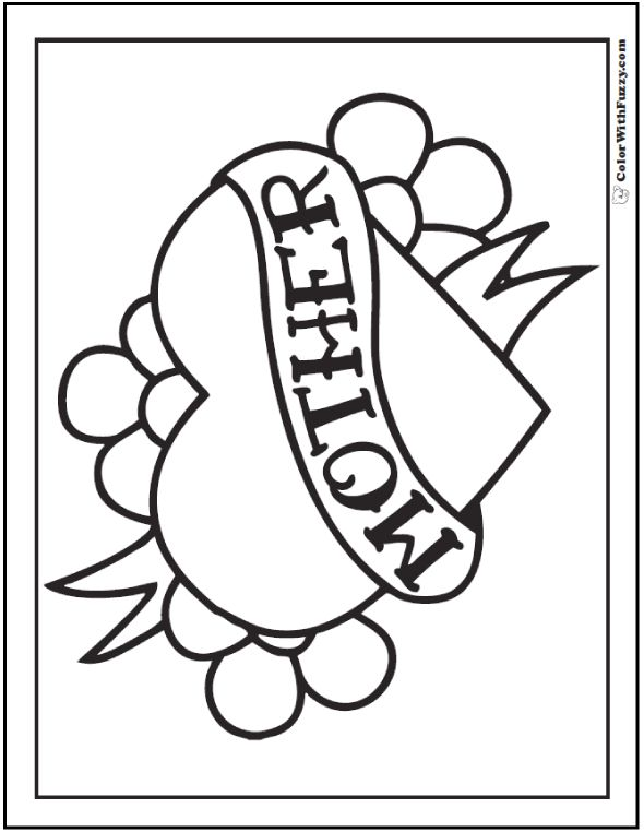 Happy Mother S Day Coloring Picture Heart Flowers
