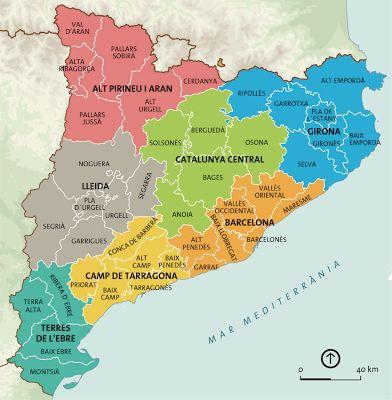 Mapa De Les Comarques De Catalunya I Capitals.Comarques De Catalunya I Capitals Mapa En Blanco