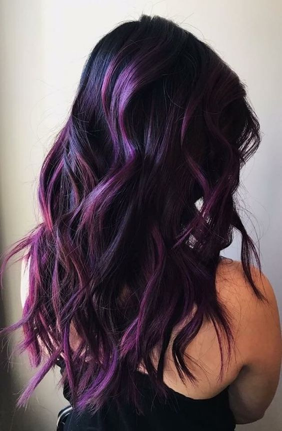 Purple Hair Color Highlights Lowlights For Dark Burgundy Plum Violets Colors #WomenHairColorBurgundy