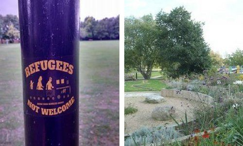 "Gerakan anti-imigran bermunculan di Inggris  CAMBRIDGE (Arrahmah.com) - Gerakan anti-imigran telah bermunculan di Inggris. Mereka menempelkan stiker-stiker anti-imigran di sebuah taman di Cambridge Inggris yang mengatakan bahwa pengungsi tidak diterima dan mereka harus kembali ke negara asal mereka.  Media lokal juga melaporkan tentang stiker anti-imigran yang menempel di tiang yang terdapat di Taman Rekreasi Romsey.  Beberapa stiker itu ada yang berbunyi ""Bawa keluargamu pulang!""…"