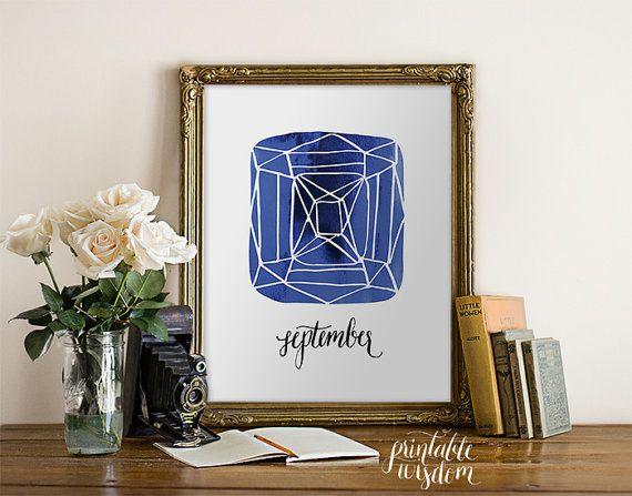 Birthstone print wall art printable September by PrintableWisdom, $5.00