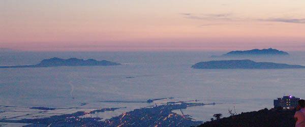 Panorama delle isole Egadi, Trapani. Favignana, Levanzo e Marettimo