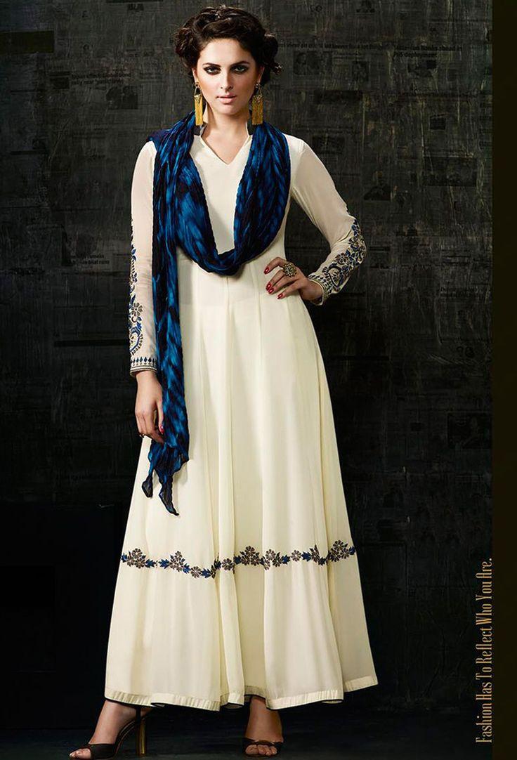 Semi #Stitched Off White Georgette #Anarkali #Suit #nikvik  #usa #designer #australia #canada #freeshipping #kamiz