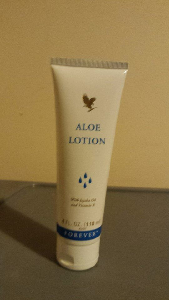 Forever Living Aloe Lotion: Finely-textured moisturiser to help condition your face and body. Contains nourishing ingredients like jojoba oil, vitamin E, collagen and elastic to keep the skin smooth and supple. Aloe Lotion is ideal to soothe dry, irritated skin and to use as an after-sun lotion N.B: Suitable for people prone to eczema and  psoriasis. Contains lanolin.