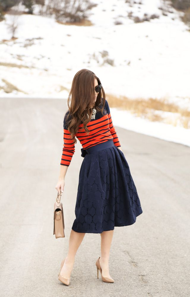sweater, skirt, heels. navy and red. || Corilynn