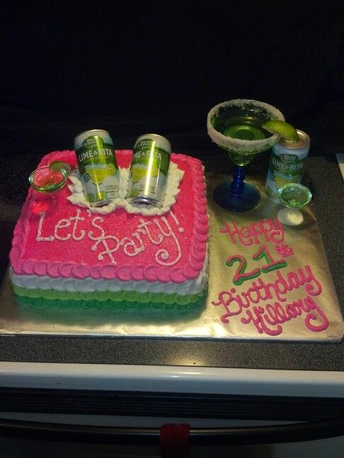 Bud Light Lime-a-Rita 21st birthday cake with jello shots