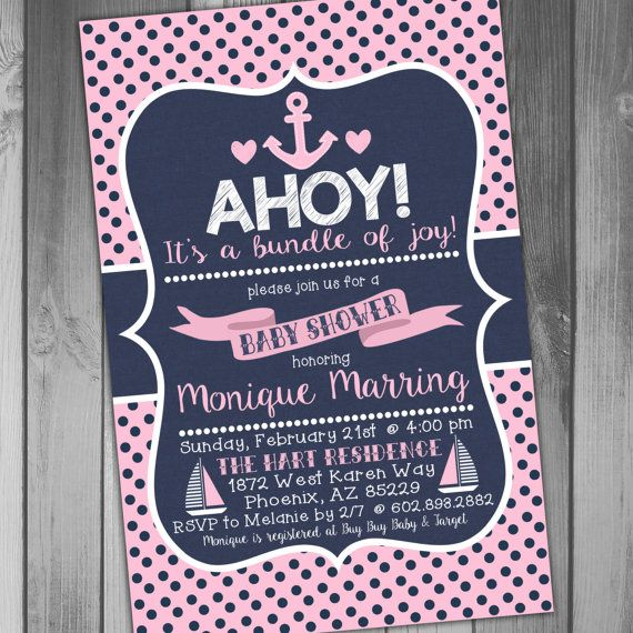 baby shower invitation nautical baby shower girl baby shower invite printable baby navy baby pink baby polka dot ahoy baby anchor baby