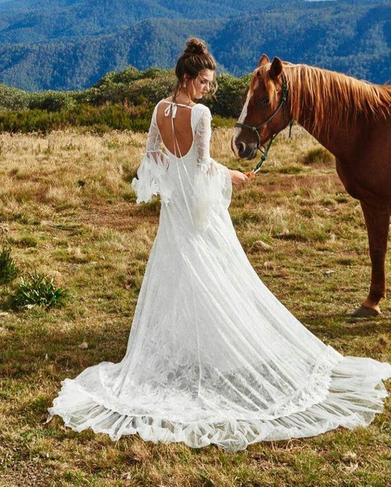 Non Traditional Wedding Dress Boho: Bohemian Lace Wedding Dress. Long Bell Sleeves, Long Train