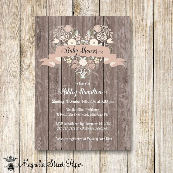 Rustic Baby Shower Invitation, Floral Heart Baby Girl Baby Shower Invite, Printable Wood Baby Shower Invitation, Country Baby Shower