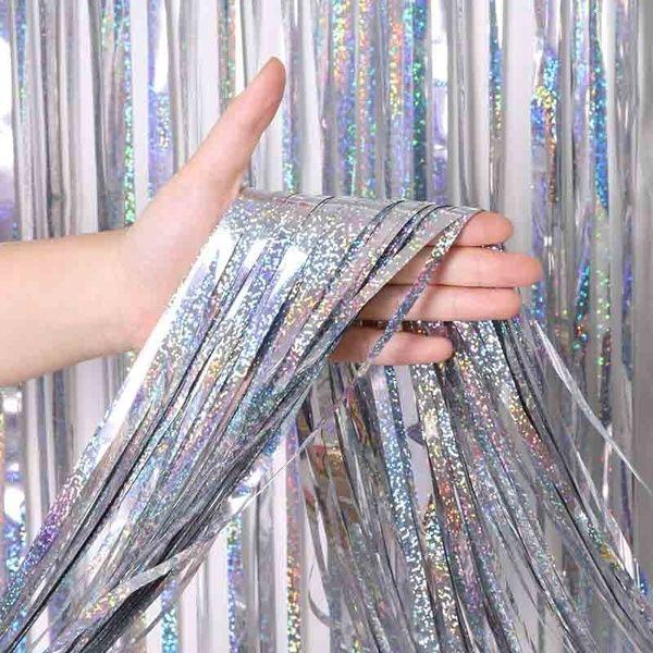 Metallic Foil Fringe Shimmer Backdrop Wedding Birthday Party Wall