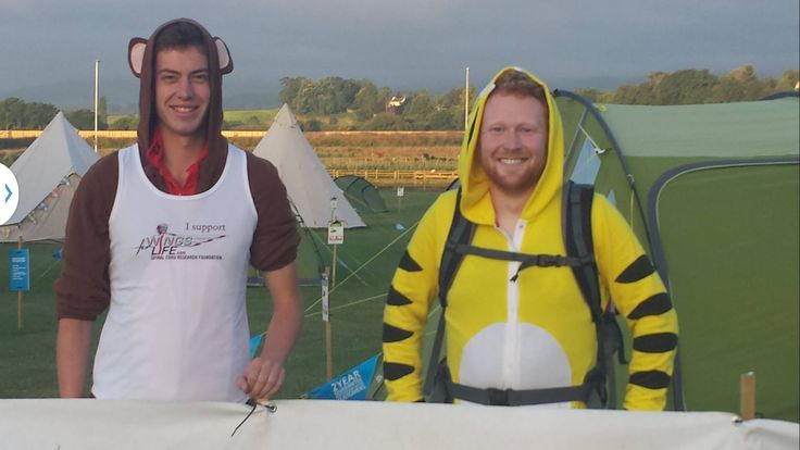 Leg 17 - Exeter to Plymouth: Jack and Owen prepped for running the first 6 mile leg in fancy dress to St. David's Bridge. #WFLRelay