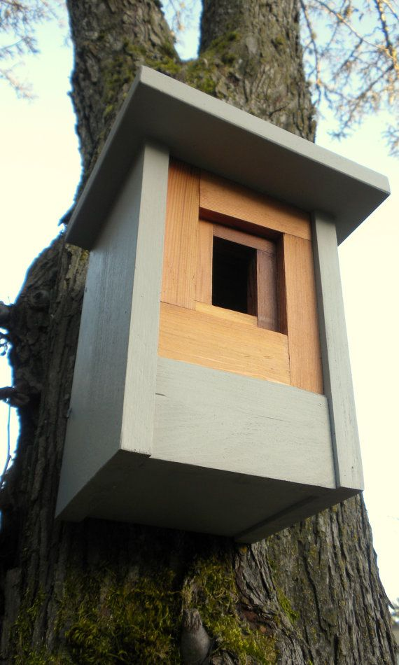 Modern Craftsman bird house. Saw it on Design Milk. Available on Etsy.