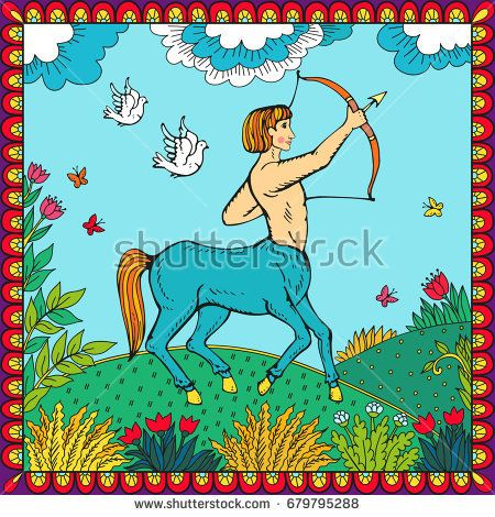 Centaur. Human with horse body. Fantasy magic creatures collection. Hand drawn vector illustration. Engraved line art drawing, graphic mythical doodle. Template for card game, poster Russian style.
