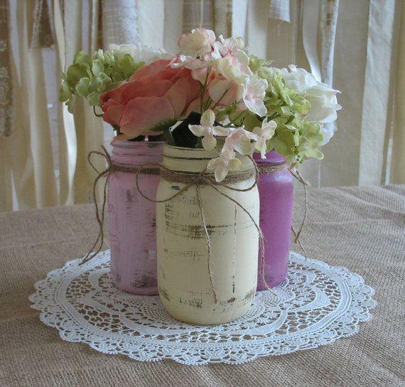 Wedding Flowers In Mason Jars: Mason Jars, Ball Jars, Painted Mason Jars, Flower Vases